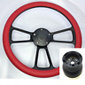 "14"" Black Billet Steering Wheel (Red Wrap, Horn Button, Adapter A01) Chevrolet"