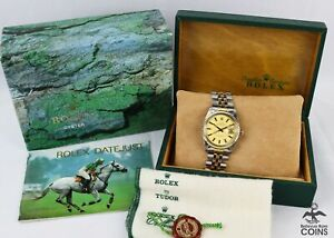 1984 Rolex Oyster DATEJUST Auto Gold Dial Two Tone St. Steel Watch 16013 w/Boxes