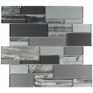Classic Uniform Squares Black Grey White Glass Mosaic Tile Backsplash MTO0238