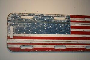 Antique American Flag Denver Fire Dept. Wood Stretcher Folk Art Primitive Sign