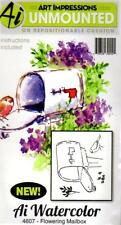New ART IMPRESSIONS RUBBER STAMP Cling MINI watercolor set 4 flowering mailbox