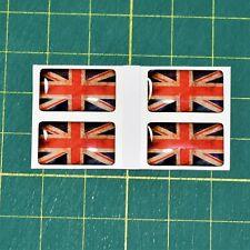 4x Union Jack Flag Domed Stickers - High Gloss Raised Finish Vintage Finish