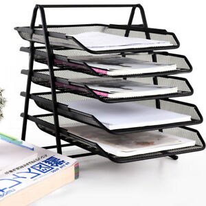 Office Filing Trays Holder A4 Document Letter Paper Storage 5 Tiers Post In Out