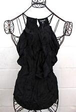 BEBE Black Ruffle Shine Relaxed Smocked Tunic Halter Tunic Blouse Top S NWT
