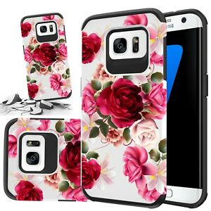 For Samsung Galaxy S7 Case, Red Floral Rubber Durable Dual Layer Cover