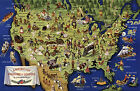 Midcentury Pictorial Map American Folklore and Legends Historical Vintage Poster