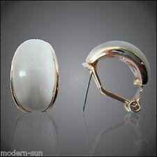 Cambered White Opal Agate Oval 18K Yellow GP Buckle  Earrings E1802
