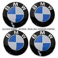 BMW Alloy Wheel Centre Hub Caps Blue Set 68mm x4 1 3 5 6 7 Series E90 E34 E46 X5