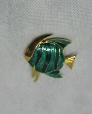 """Boucher 2"""" Signed/Numbered Enamel Angel Fish Figural Brooch Pin Blue Green RARE"""