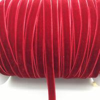 "New 5 yards 3/8 ""10mm Deep Red Velvet Ribbon Headband Clips Bow Decoration"