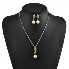 Elegant Jewelry Sets Wedding Bridal Gold Plated Pearl Rhinestone Charms Necklace