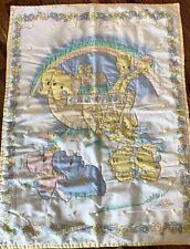 Vintage 80s Noahs Ark Baby Blanket Quilt Thats Our Baby Lovey Yellow Gingham