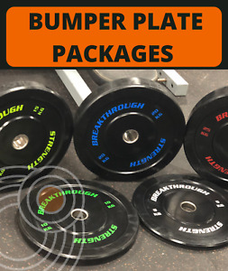Olympic Bumper Plates - Breakthrough Strength - Coloured Writing - GREAT PRICES