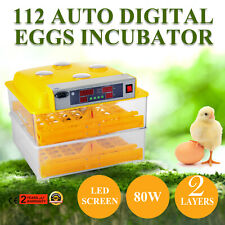 112 Digital Egg Incubator Hatcher Temp Control Turner Duck Goose 80W 2 Layers
