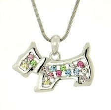 "DOG Multicolor W Swarovski Crystal Pet Puppy Pendant Necklace 18"" Chain Charm"