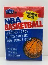 1986 Fleer unopened wax pack Ewing sticker card on back