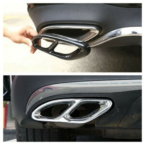2x Exhaust Pipe Tips Cover For Mercedes Benz ABCE Class CLA GLC GLE GLS 15-17