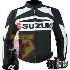 GSX Suzuki Black Motorbike Motorcycle Genuine Cowhide Leather Jacket and Gloves XXL