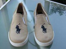 Polo Ralph Lauren Khaki Canvas Slip-On Loafers Boys size 10.5