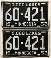 NICE Matched Set/Pair! 1953 SHORT Minnesota License Plates car oil gas