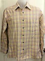 Vintage 70's Men's Medium Yves Saint Laurent Sportswear Pastel Plaid Dress Shirt