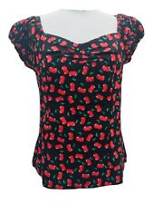 Joe Browns  Cheeky Cherry Black Red Top Gypsy Milkmaid Style 14 Nwt Zip Up Back