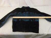 Vintage Adult Men's Adler Southwestern Themed Black Blue Leather Coat 31916