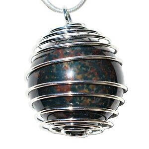 """CHARGED Bloodstone Hand-Polished Sphere Perfect Pendant™ + 20"""" Silver Chain"""