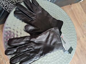 MARKS AND SPENCER  BROWN LEATHER GLOVES WITH THINSULATE  SIZE L  BNWT RRP 39.50