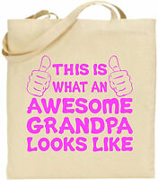 Awesome Grandpa Large Cotton Tote Shopping Bag Canvas Father Day Funny Gift