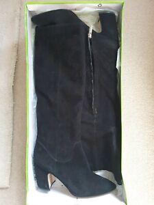 Sam Edelman Hai Black Suede Knee High Boots Size Uk 7 Bnib