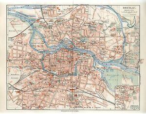 1898 GERMANY BRESLAU now POLAND WROCLAW CITY PLAN Antique Map