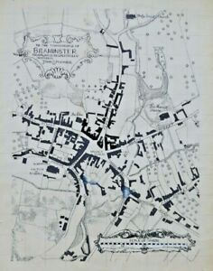 20th C Hand Drawn Map. Beaminster. Inks. John Spooner