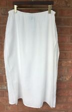 Eileen Fisher  L Large   White Linen Maxi Skirt Long Double Layer Pull-on