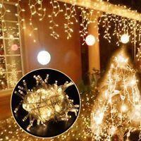 10M 220V 100 LED warmweiß Weihnachtslichterkette Lichterkette Eisregen Eiszapfen