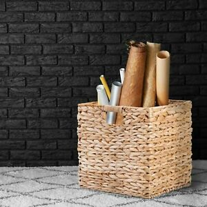 Wickerfield Natural Water Hyacinth Open Storage Basket Home Living Room Kitchen