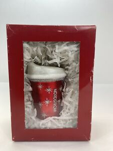 Nordstrom at Home 2018 Coffee Cup Christmas Ornament Red Cup W White Glitter Lid