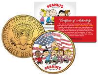 PEANUTS * Americana * CHARLIE BROWN Snoopy JFK Half Dollar Coin 24K Gold Plated