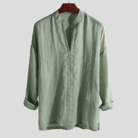 Men's Cotton Chinese Style Loose V-Neck Long Sleeve Purplish Blue/Green/Apricot