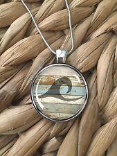 Wave Surfer Wood Ocean Sea Beach Island Pendant Silver Chain Necklace NEW