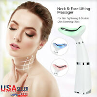 LED Facial Neck Sonic Lifting Massager Photon Therapy Wrinkle Double Chin Remove