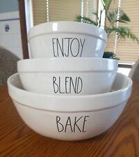 Rae Dunn Mixing Bowls BAKE BLEND ENJOY~Brand New Pottery