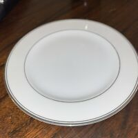 Elegant Pair Of Sango Bread And Butter Plate With Silver Accents, White China