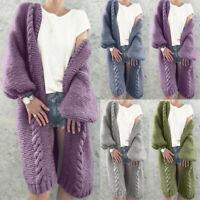 Sweater Chunky Jumper Long Women Sleeve Warm Autumn Winter Knitted Coat Cardigan
