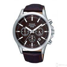 Pulsar PT3067 Mens Chronograph Black Dial Brown Leather Strap Watch UK Seller