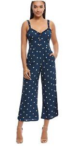Faithfull The Brand, Cancun Jumpsuit, Size 10/M, Blue Polka Dot