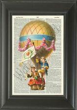 Original-hot AIR balloon-vintage dizionario pagina stampa-HOME DECOR - 409D