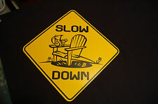 SLOW DOWN metal sign Road Cottage kids Family Decor Yard