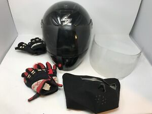 Scorpion Exo 700 Motorcycle Helmet Full Face W Gloves Mask Shield Size XS Black