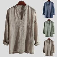 Men's Spring V Neck Cotton Linen Hemp Loose Casual Blouse Top Pullover Shirt